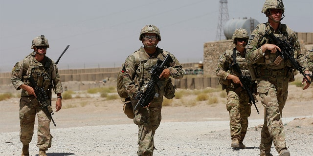 U.S. troops patrol at an Afghan National Army (ANA) Base in Logar province, Afghanistan August 7, 2018. REUTERS/Omar Sobhani - RC1D8EB3A110