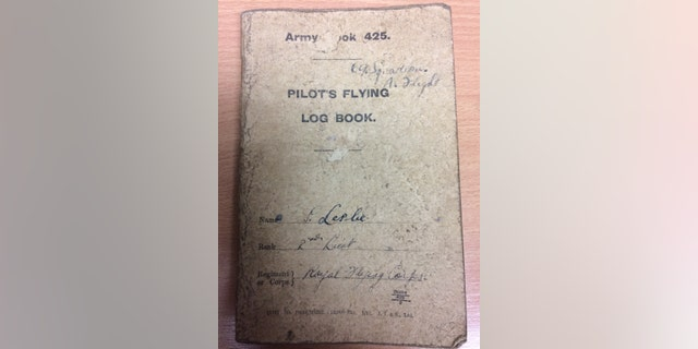 The Pilot's Flying Log Book that belonged to Leslie.
