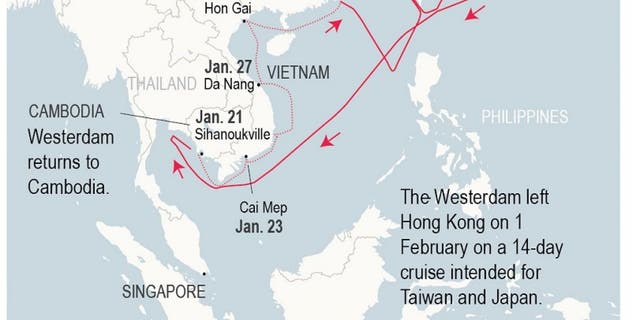 Thailand, the Philippines, Taiwan and Japan had turned away the MS Westerdam before Cambodian officials allowed the ship to dock in Sihanoukville.