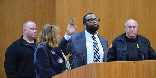 Defendant Willie Cory Godbolt is sworn in before telling the court he did not want to testify on his own behalf in his capital murder trial Monday, Feb. 24, 2020 during Day 9 of testimony at the Pike County Courthouse, in Magnolia, Miss. (Donna Campbell/The Daily Leader via AP, Pool)