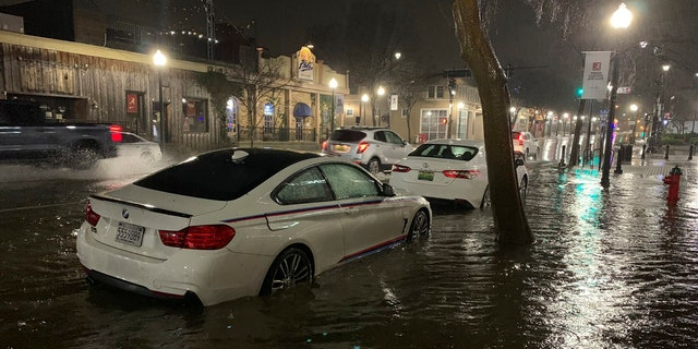In this photo released by Adam Fowler, vehicles sit parked in on the side of a main road in floodwater, Wednesday, Feb. 6, 2020, in Tuscaloosa, Alabama.