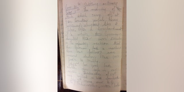 The diary entry for the first day of the Battle of the Somme on July 1, 1916.