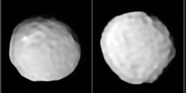 A pair of images show two views of Pallas with its pock-marked surface. (Massachusetts Institute of Technology)
