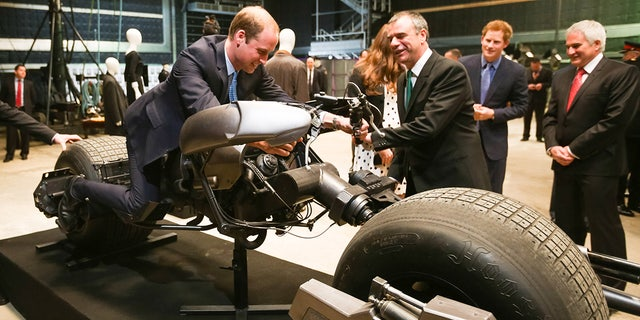 Prince William checked out the Batpod at the opening of Warner Bros. Studios in London.