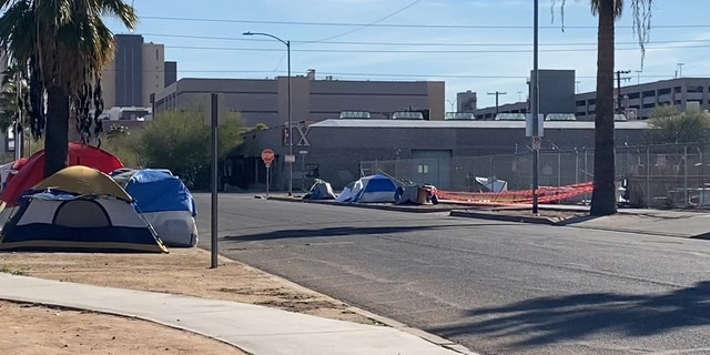Many shelters are full, forcing people to sleep on the streets in Phoenix. (Stephanie Bennett / Fox News).