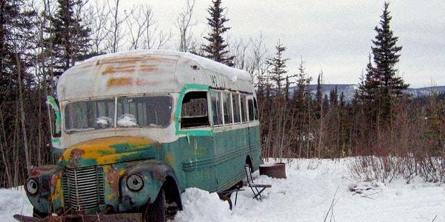 This March 21, 2006 file photo shows the abandoned bus where Christopher McCandless starved to death in 1992 on Stampede Road near Healy, Alaska.