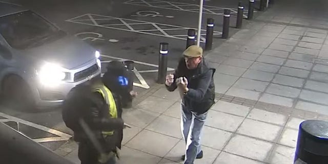 Trevor appeared to yell at the suspect, who kept backing off as the 77-year-old landed blow after blow.