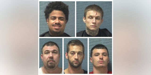Five Ohio jail inmates escaped from a correctional facility earlier this week, authorities said. One has been captured, according to media reports. Jaden Miller and Michael Fisher; bottom row: Joshua Bingham, Jason Drake and Vincent Blanc. (Courtesy of Canton police)
