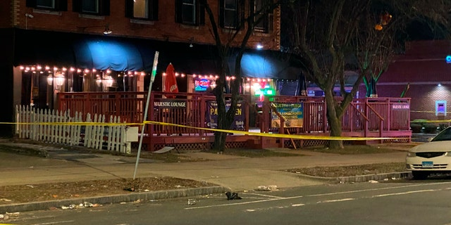 In this photo provide by Channel 3 Eyewitness News (WFSB-TV), a view of the scene of a shooting at the Majestic Lounge, in Hartford, Connecticut, Sunday, Feb. 16, 2020.