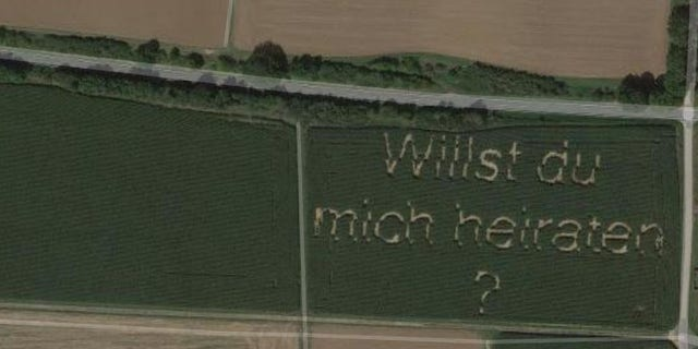 Steffan Schwarz told BBC that he used a seeding machine to spell out the message.