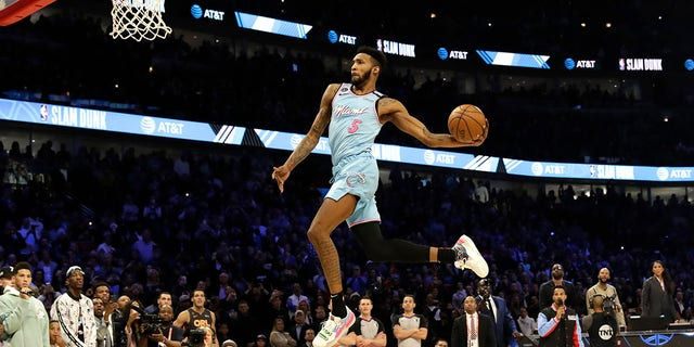 Miami Heat's Derrick Jones Jr. heads to the basket during the NBA All-Star slam dunk contest in Chicago, Saturday, Feb. 15, 2020. (Associated Press)