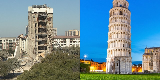The structure's implosion was recorded and immediately shared to Twitter, where it went viral with comparisons to the famous Leaning Tower of Pisa.