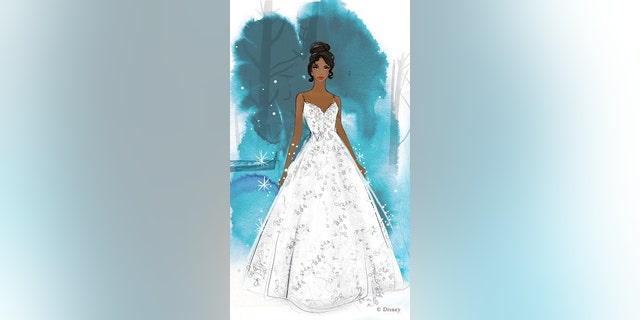 A Tiana-inspired illustration of a Disney Fairy Tale Weddings Collection gown.