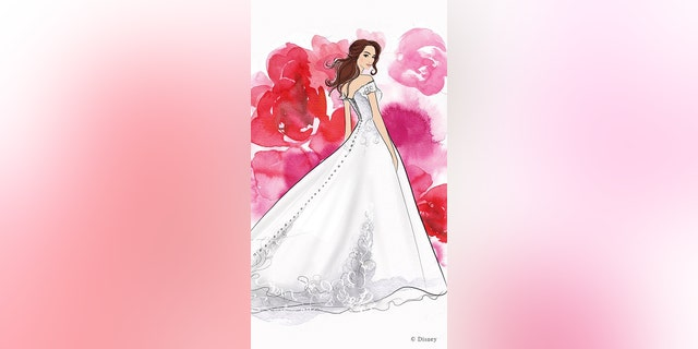 A Belle-inspired illustration of a Disney Fairy Tale Weddings Collection gown.