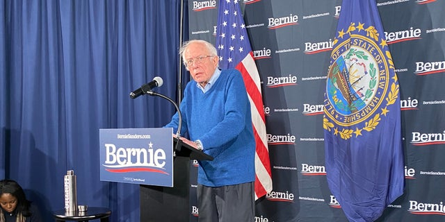 Democratic presidential candidate Sen. Bernie Sanders of Vermont speaks to reporters in Manchester, NH on Feb. 6, 2020