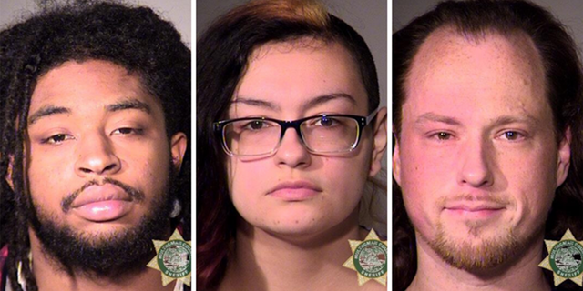 Willy Cannon, Heaven Davis, and Brandon Farley were arrested after the demonstration in Portland on Saturday, according to police. (Multnomah County Sheriff's Office)