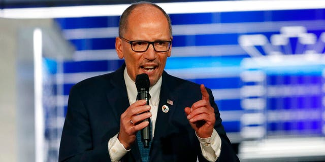 """FILE - In this Nov. 20, 2019 file photo, Chair of the Democratic National Committee, Tom Perez, speaks before a Democratic presidential primary debate in Atlanta. Perez is calling for a """"recanvass"""" of the results of Monday's Iowa caucus. (AP Photo/John Bazemore)"""