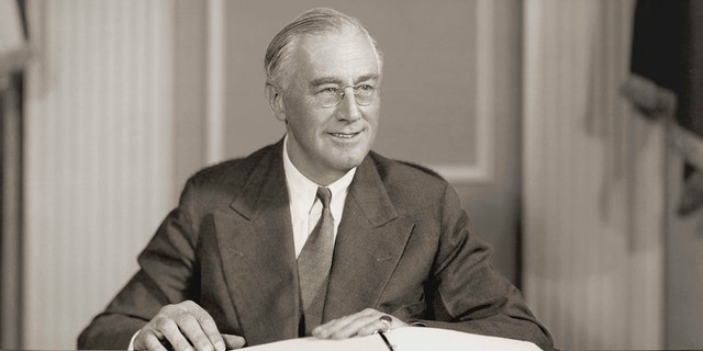 Circa 1942: Seated portrait of Franklin D. Roosevelt (1882-1945), president of the United States (1933-1945), who led the United States during World War II. (Photo by Stock Montage/Getty Images)
