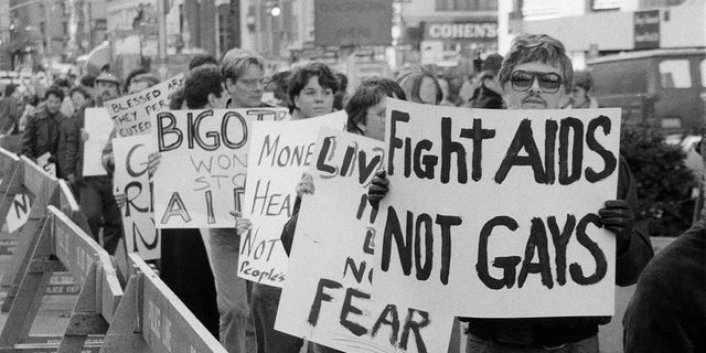 Protesters in New York City, the epicenter of the HIV/AIDS epidemic in 1985.