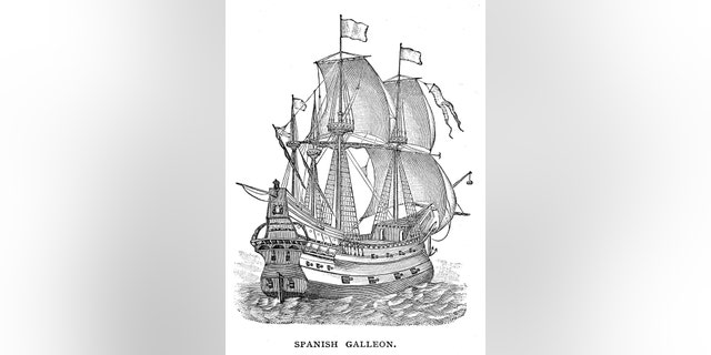 Spanish galleon engraving 1895 stock illustration.