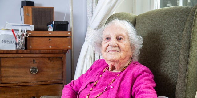Alice Frank Stock at her care home in Bristol. Alice spent more than a decade living in the same apartment block as Adolf Hiter when she was young. (Credit: SWNS)