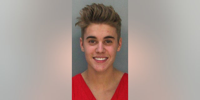 Justin Bieber's mugshot following his DUI arrest in 2014.