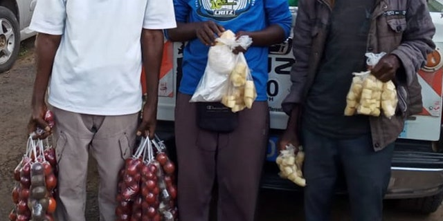 The three men were arrested Monday in Nairobi after using plastic bags.