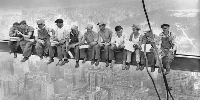 This 1932 photo shows intrepid steelworkers atop the 70 story RCA building in Rockefeller Center having lunch.