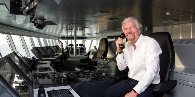 Sir Richard Branson onboard the new Scarlet Lady Virgin Voyages cruise ship.