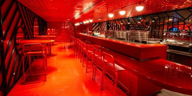 Razzle Dazzle restaurant inside the new Scarlet Lady Virgin Voyages cruise ship.