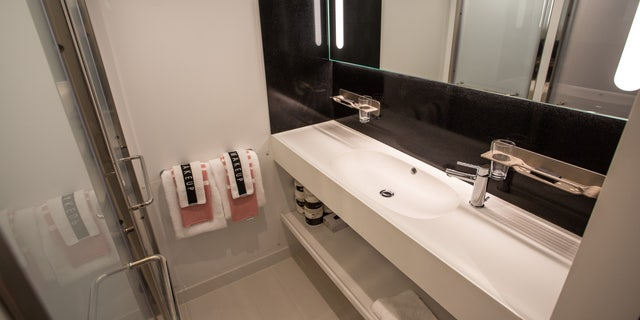 One of suites inside the new Scarlett Lady Virgin Voyages cruise ship.