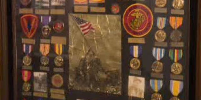 Some of Maj. Bill White's military medals, pictured. In the Second World War, White served in the Marine Corps and survived the Battle of Iwo Jima (KTXL)