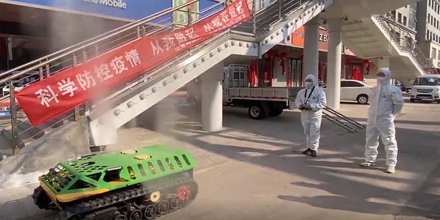 The tanks, which are remote-controlled, are being used to disinfect areas with confirmed coronavirus cases.