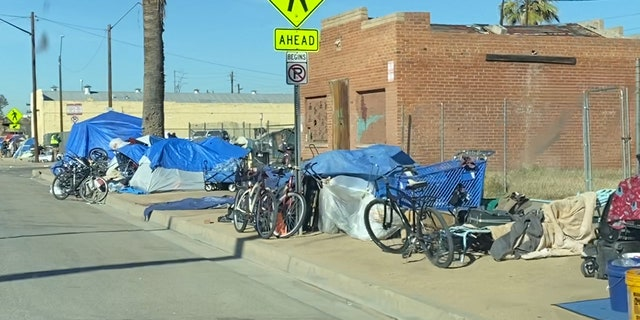 Tents line the streets surrounding Arizona's largest Emergency Shelter. CASS works at capacity every night, turning away 500 people monthly. (Stephanie Bennett / Fox News).