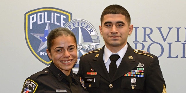 Irving Police Officer Erika Benning with her son, Sgt. Giovanni Pando.