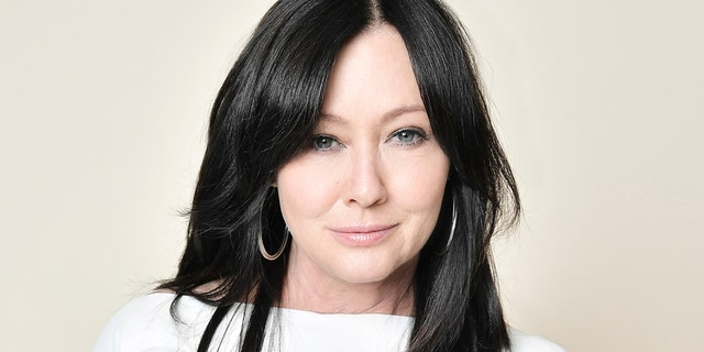 Shannen Doherty poses for a portrait in the Getty Images & People Magazine Portrait Studio at Hallmark Channel and American Humanes 2019 Hero Dog Awards at the Beverly Hilton in October 2019.