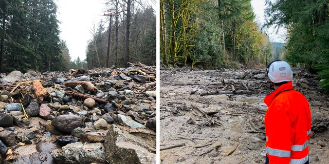 Debris blocks State Route 706 in Washington State at milepost 11.6 in Pierce County with no estimated time of reopening, according to the department of transportation.