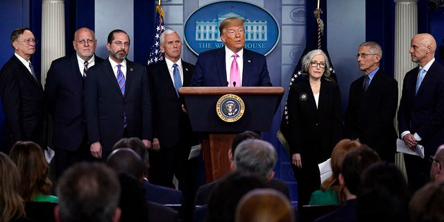 President Trump, with members of his coronavirus task force, speaks during a news conference Wednesday. (AP Photo/Evan Vucci)