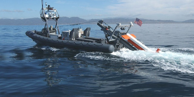 An Unmanned Surface Vessel with an AQS mine-hunting sonar. (Credit: Northrop Grumman)