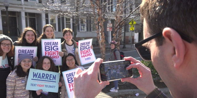 Warren supporters gather in Cambridge, Mass. to canvass for her ahead of Super Tuesday.
