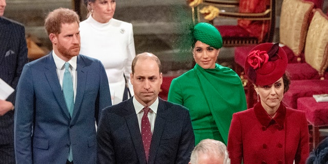 From left, Britain's Prince Harry, Prince William, Meghan Duchess of Sussex and Kate, Duchess of Cambridge leave the annual Commonwealth Service at Westminster Abbey in London Monday, March 9, 2020