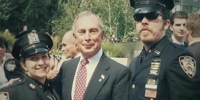 Retired NYPD Detective Stephen Reid, now an active-duty EMT paramedic in Westchester County, NY, with Michael Bloomberg at the one-year 9/11 memorial ceremony. (Courtesy Stephen Reid)