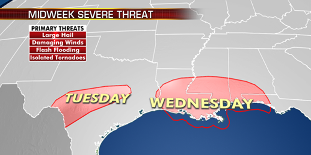 The threat of severe weather includes parts of Texas on Tuesday.