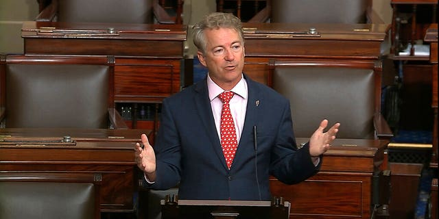 Sen. Rand Paul, seen on the Senate floor earlier this month, announced he has tested positive for the coronavirus. (Senate Television via AP, File)