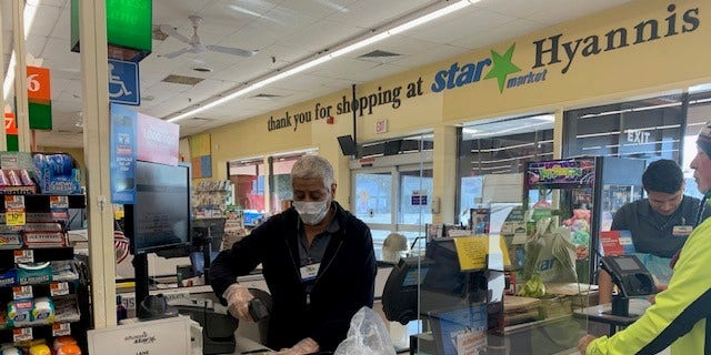 Albertsons grocery stores, which own and operate supermarket chains including Safeway, Shaws, Star Market and Acme, among others, has already started installing the plexiglass barriers to its checkouts.
