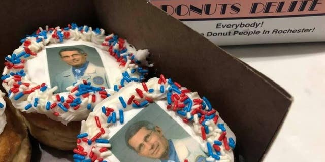 A doughnut shop in New York state decorated some doughnuts with the likeness of Dr. Anthony Fauci, the nation's top infectious disease expert.