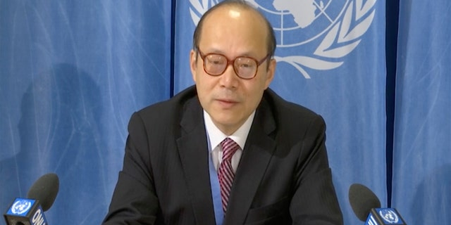 China's ambassador in Geneva ambassador Chen Xu makes a media statement criticizing the U.S. for attacking China's candidate to head a United Nations agency that tracks intellectual property in the digital age, in Geneva, Switzerland, Wednesday, Feb. 26, 2020. (AP Photo)