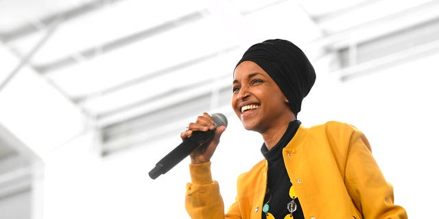 Rep. Ilhan Omar, D-Minn., speaks before introducing Democratic presidential candidate Sen. Bernie Sanders, I-Vt., at a campaign rally in Springfield, Va., Saturday, Feb. 29, 2020. (AP Photo/Susan Walsh)