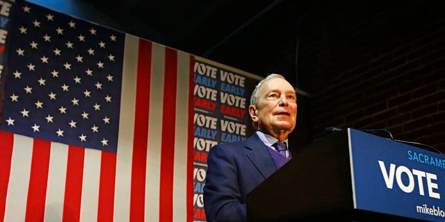 In this Feb. 3, 2020, file photo, Democratic presidential candidate former New York City Mayor Mike Bloomberg addresses supporters during a campaign stop in Sacramento, Calif. (AP Photo/Rich Pedroncelli, File)