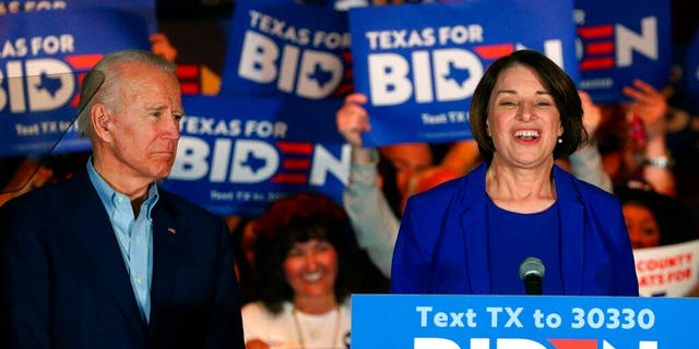 Sen. Amy Klobuchar, D-Minn., endorses Democratic presidential candidate former Vice President Joe Biden at a campaign rally Monday, March 2, 2020 in Dallas. (AP Photo/Richard W. Rodriguez)